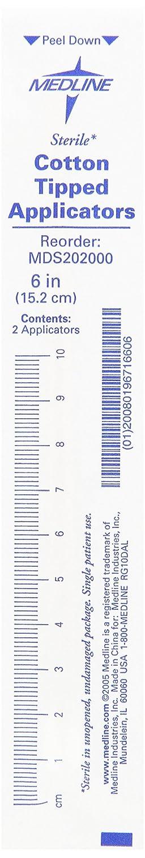 Medline MDS202000 Cotton Tip Applicators, Sterile, 6 (Pack of 200) 6 (Pack of 200) MLMDS202000