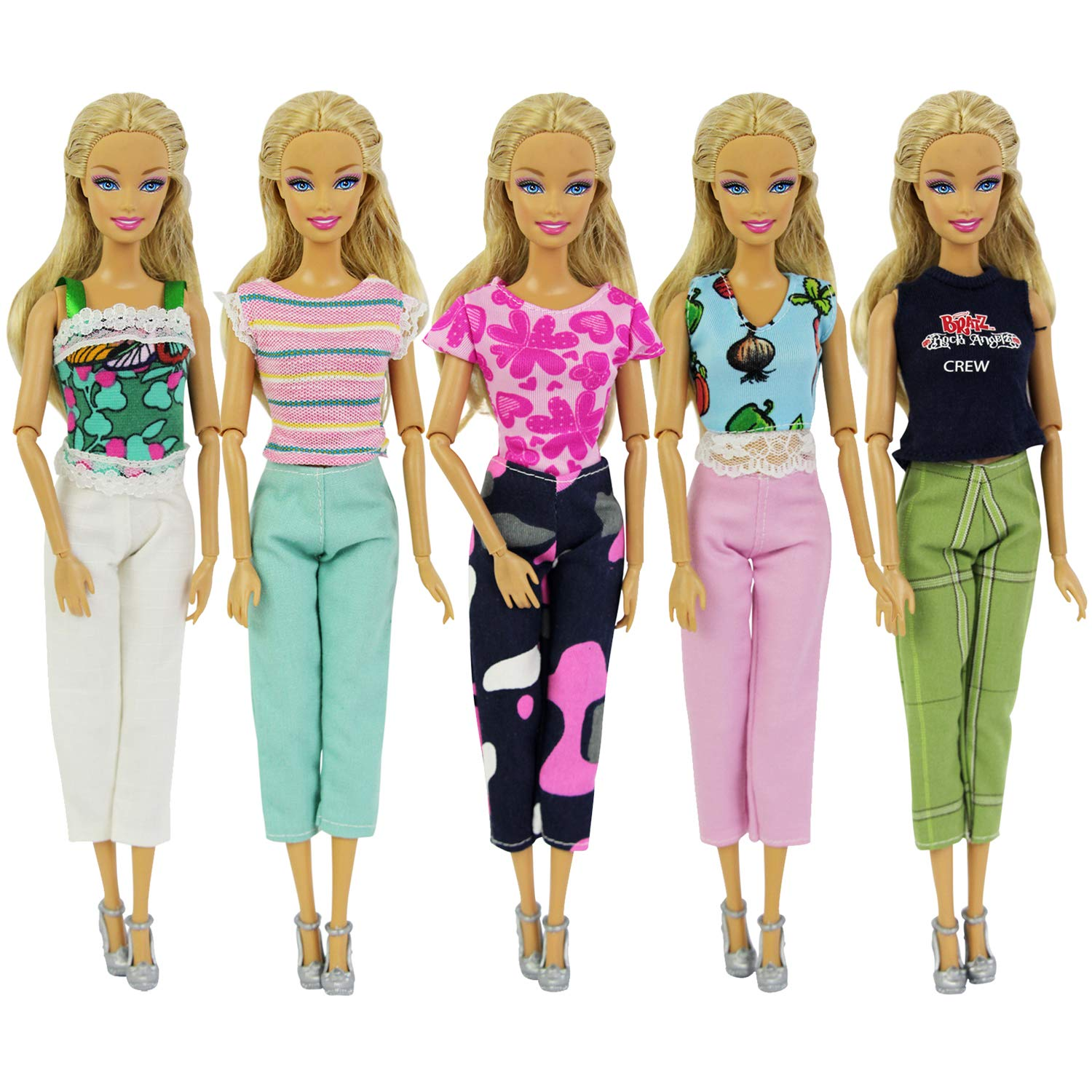 8b307d4f6044 ZITA ELEMENT 5 Sets Casual Wear Clothes for 11.5 inch Girl Doll Outfits |  Random Style 5 Shirts Matching 5 Pants for 11.5