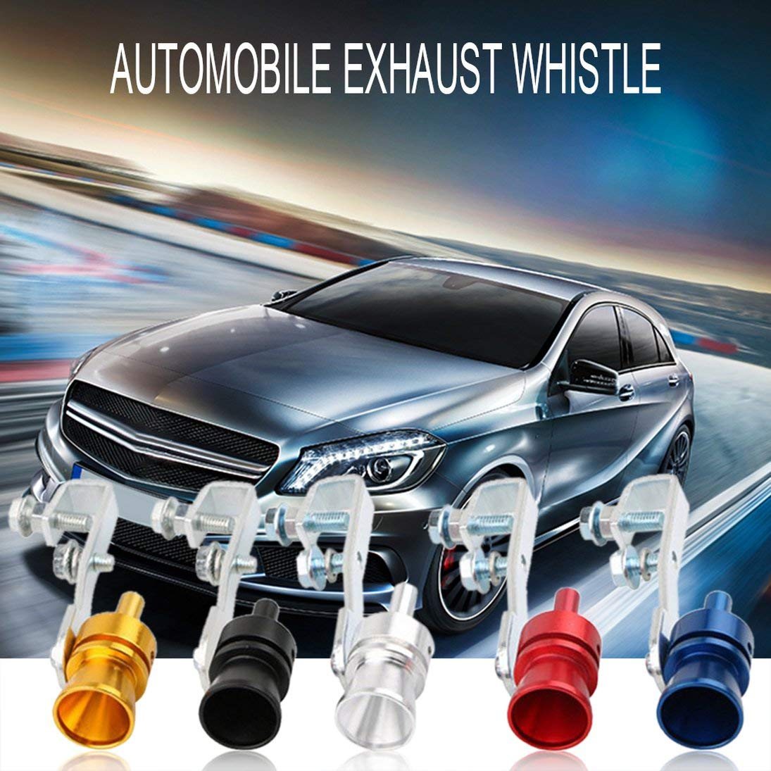 WEIHAN Exhaust Pipe Oversized Roar Maker Car Auto Loud Whistle Sound Maker Sliver