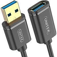 UNITEK Kabel USB 3.0 A wtyczka do gniazda USB A/kabel przedłużający / 0,5 m, czarny/przedłużacz do drukarki, klawiatury…