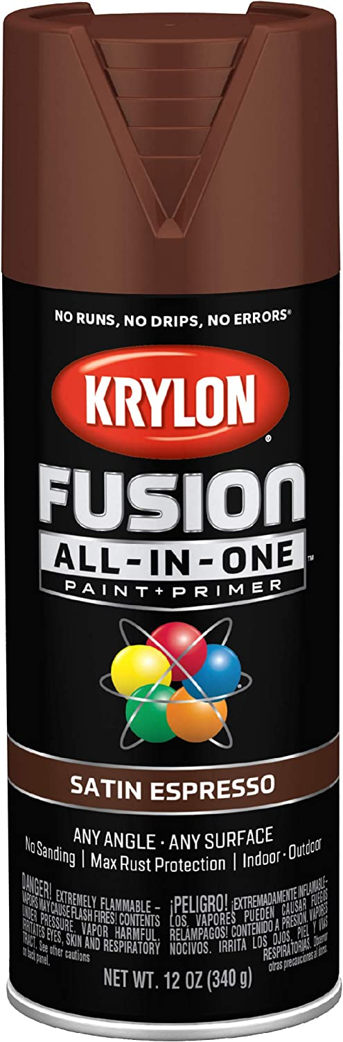 Krylon K02738007 Fusion All-In-One Spray Paint for Indoor/Outdoor Use, Satin Espresso Brown