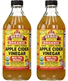 USDA Gluten Free Organic Raw Apple Cider Vinegar, With the Mother 16 ounces, 2 Pack