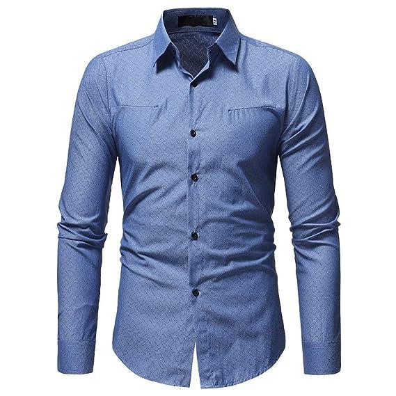 Camisa de Hombre Camisa de Manga Larga Casual Masculina de Color sólido de Moda de Internet: Amazon.es: Ropa y accesorios