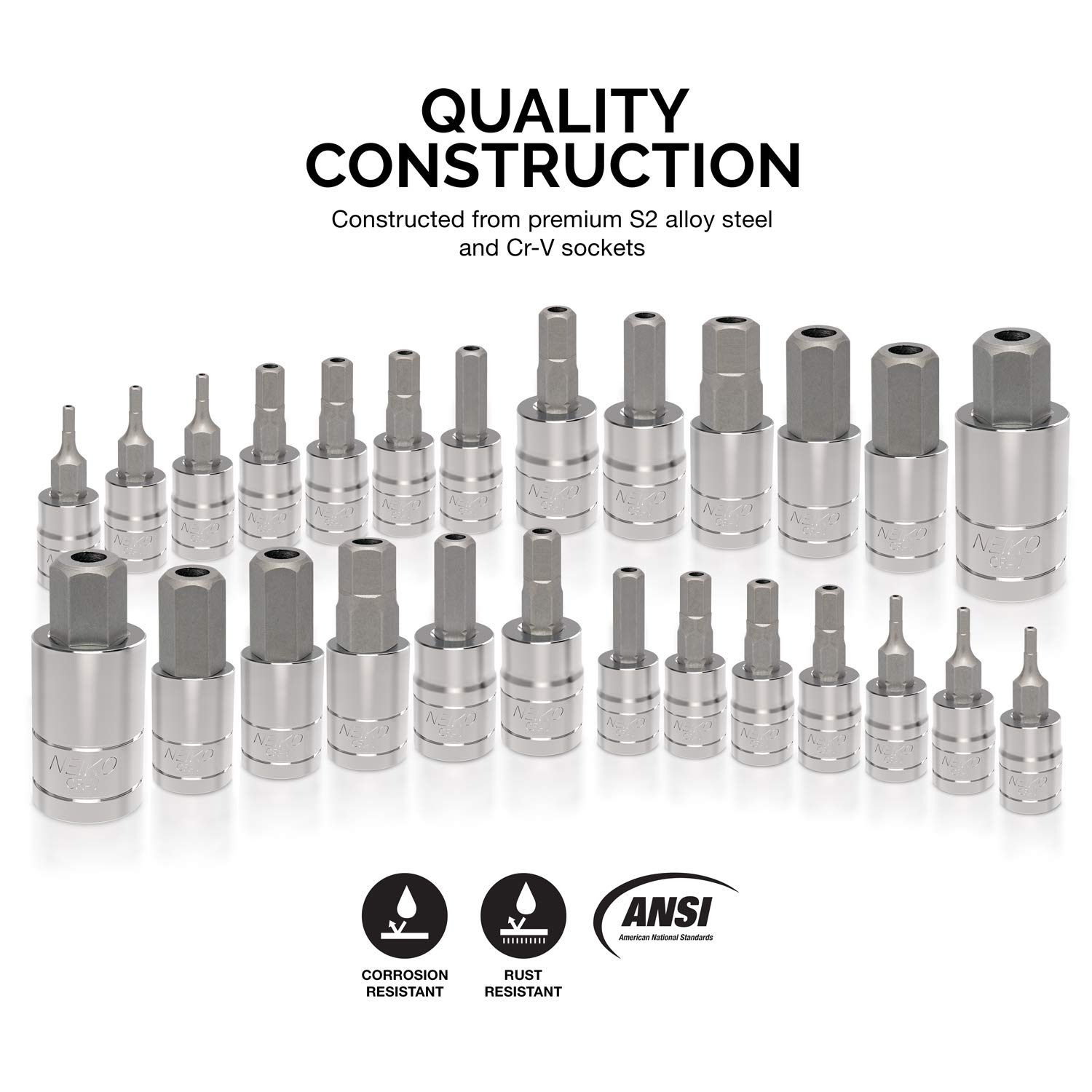 Neiko 01144A Tamper-Proof Hex Bit Socket Set, 26 Pieces | SAE 5/64-9/16'', Metric 2-14MM by Neiko (Image #2)