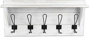 Wall Mounted Coat Rack with Shelf - 24 Inch Rustic Wooden 5 Hook Coat Hanger Rail, White Distressed Wood, Black Metal Hooks