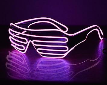 Amazon.com: LED Glasses Light Up Shutter Shaped Sunglasses Neon EL ...