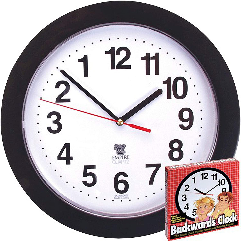 Runs Counterclockwise and Reverse Black Backwards Wall Clock