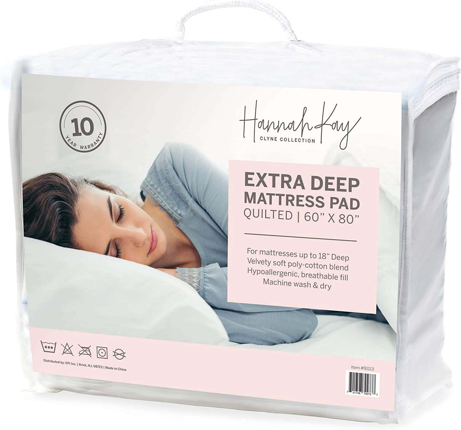 Hanna Kay Hypoallergenic Quilted Stretch-to-Fit Mattress Pad, 10 Year Warranty-Clyne Collection (Queen): Home & Kitchen