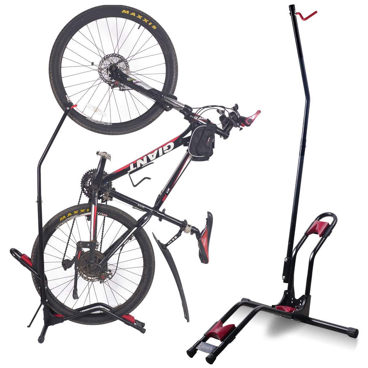 Dinsam トップバイク フロアパーキングラック ストレージスタンド 自転車フロアスタンド 垂直駐車 自転車 駐車ラック 多機能垂直型 使い方簡単   B07K51H97Q