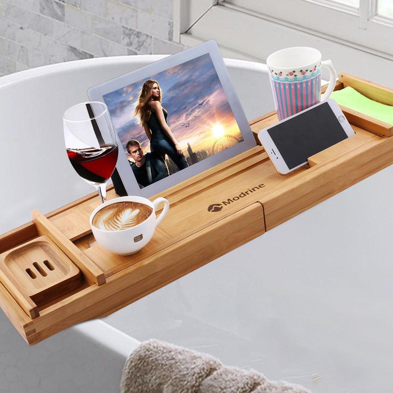 Meoket Luxury Bathtub Caddy Tray Adjustable Bamboo Wooden Bathtub Tray Free Soap Holder (Wood color)