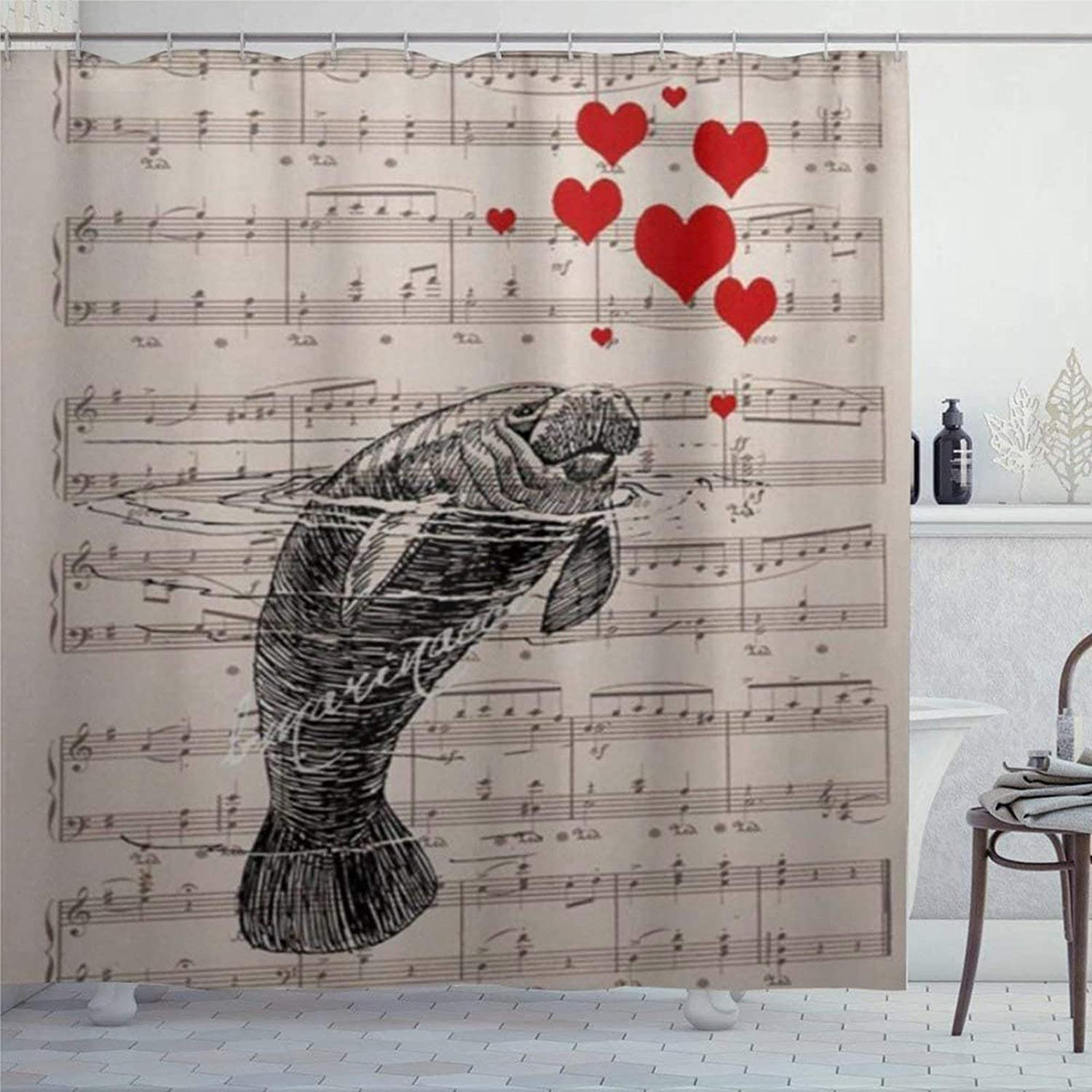 Manatee Red Hes Valentine Digital on Music Page Ing Personalized Bath Curtain, 72x72 Inch Shower Curtain,Bathroom Decor for Bathroom with 12 Hooks for Father's Day,Mother's Day.