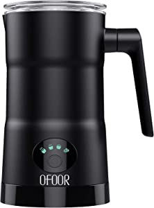 OFOOR Milk Frother - 11.8oz/5.4oz Large Capacity Milk Steamer for Hot and Cold Milk Froth - Silent Operation Double Wall Design - 4 in 1 Electric Automatic Milk Frother Heater for Latte & Cappuccino