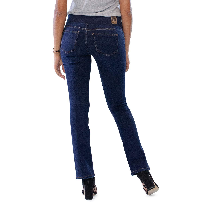 MAMAJEANS Amalfi Jeans Donna Bootcut Senza Bottone Comodissima Cintura con Elastico Made in Italy Svasato a Zampetta Ideale Curvy Vita Alta