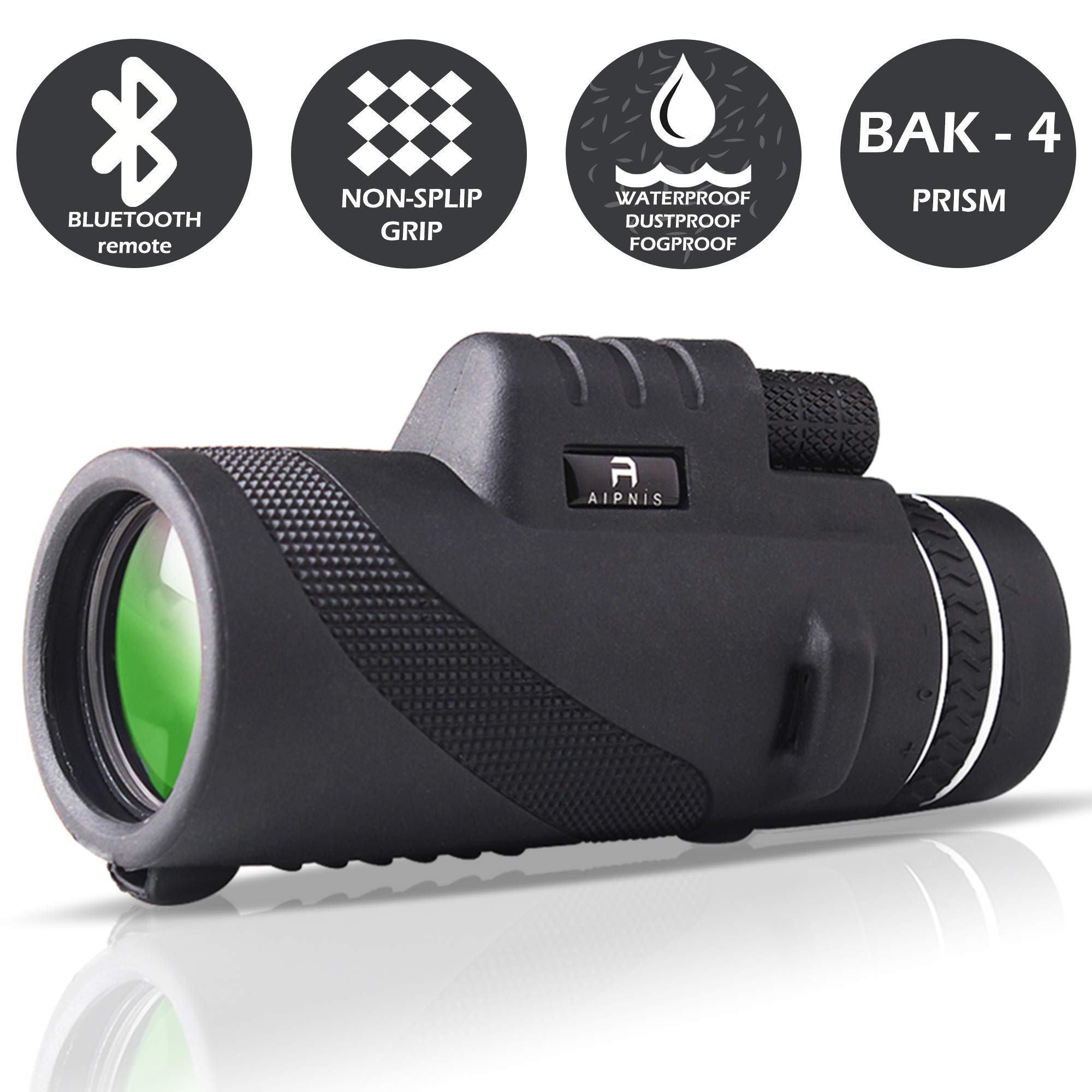 Monocular Telescope by AIPNIS - 12x50 HD Waterproof Shockproof Fog-proof Low Light Night Vision Scope with Smartphone Mount Adapter and Tripod - Bak4 Prism Fmc for Outdoor Bird Watching Hunting Hiking by AIPNIS