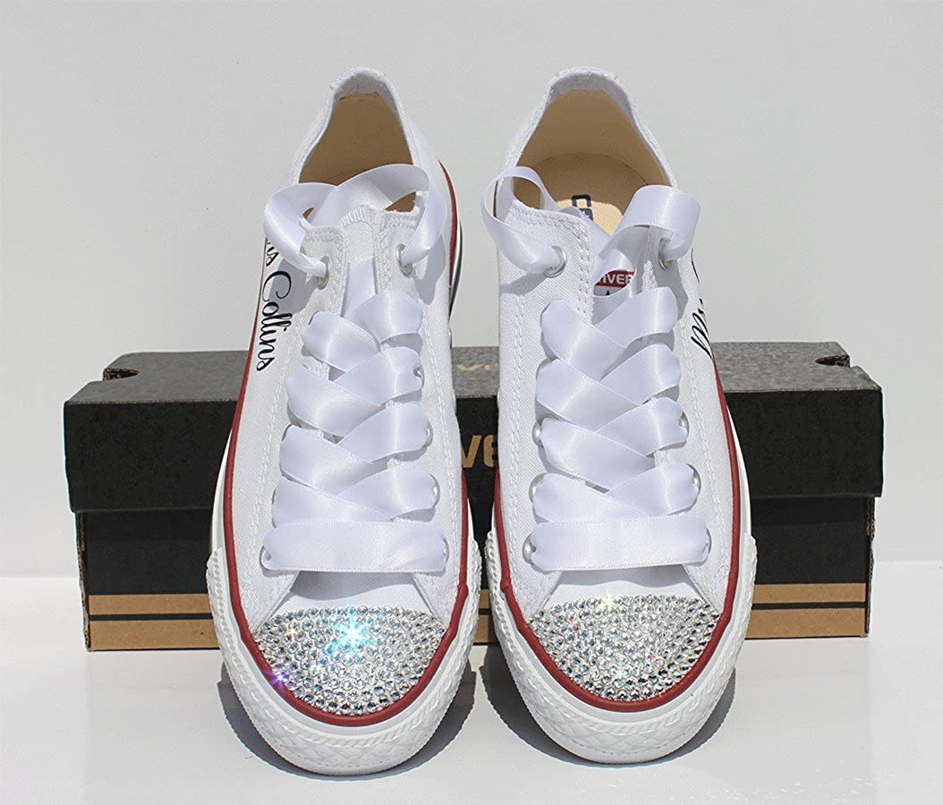 58dae10a9601 Converse Wedding Bride with Swarovski Crystal Toes (11 (UK Womens))   Amazon.co.uk  Shoes   Bags