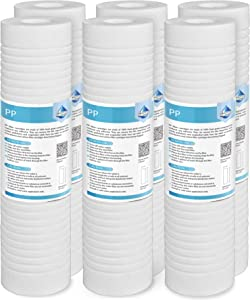 """Grooved Sediment Water Filter Cartridge (6 Pack), Membrane Solutions 5 Micron Whole House Water Filter Universal Replacement 10""""x2.5"""" for 10 inch RO Unit, Whole House Under-Sink Filtration System"""