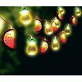KOVOT Tropical String Lights Set - Includes (2) 10-Light Strings Of Alternating Pineapples & Watermelons - Each 5' Feet Long