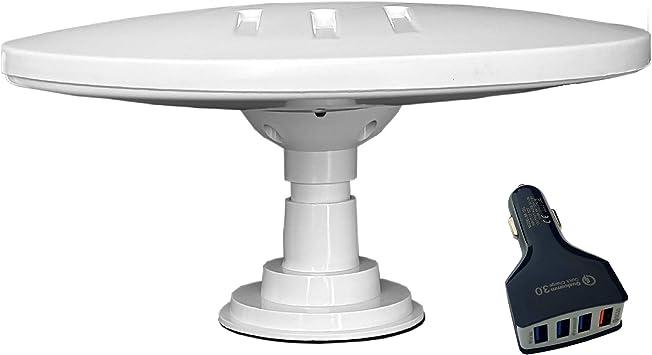 HELIO-MAGNET ANTENA de TV HD Digital Omnidireccional con 33dB Incorporado en Amplificador para DVB-T2 TDT FM DAB. 12V / 24V / 5V USB. Ideal para ...