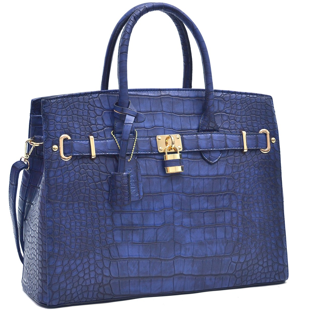 MMK Collection Fall~Winter Women Handbag Fashion Satchel for Women (02-1006)~Croco Padlock Handbag~Designer Women Purse/Handbag~Gifts for Women (02-1006 Royal Blue)