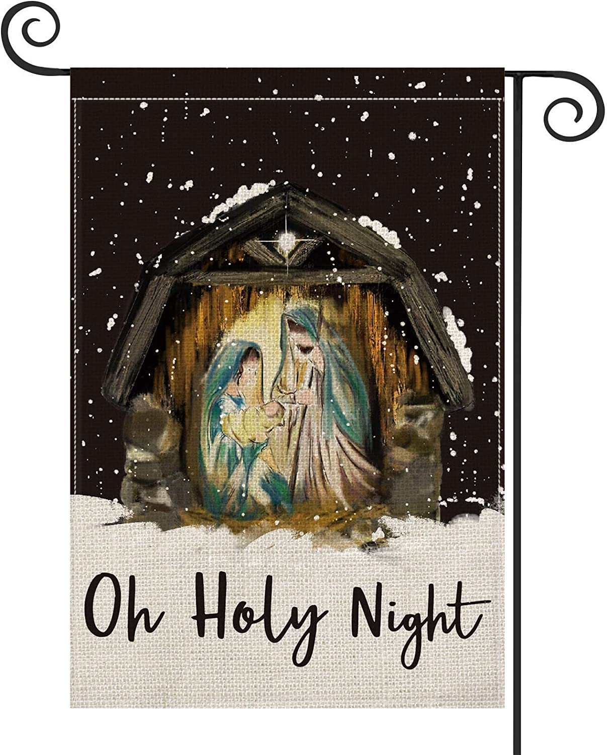 Diavy Oh Holy Night Garden Flag Vertical Double Sized, Christmas Winter Holiday Log Cabin Christian Yard Outdoor Decoration 12.5 x 18 Inch