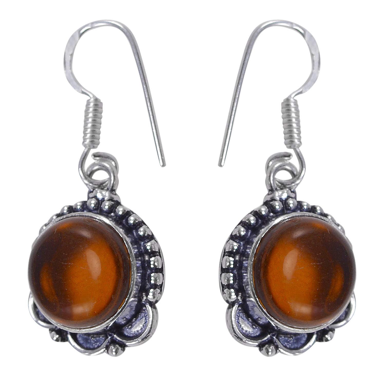 Silvesto India Honey Quartz Gemstone 925 Silver Plated Dangle Earring Jewelry PG-115756