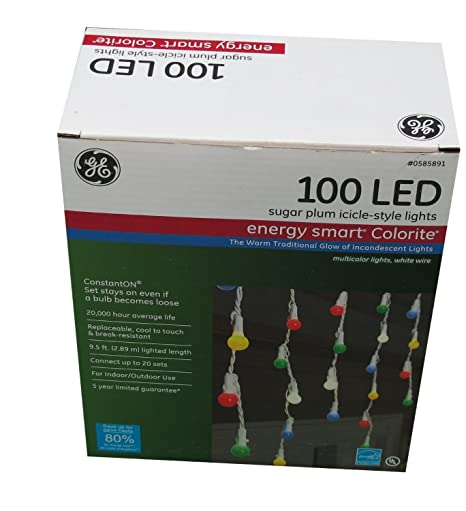 GE 100 LED Energy Smart Colorite Sugar Plum IcicleStyle Lights