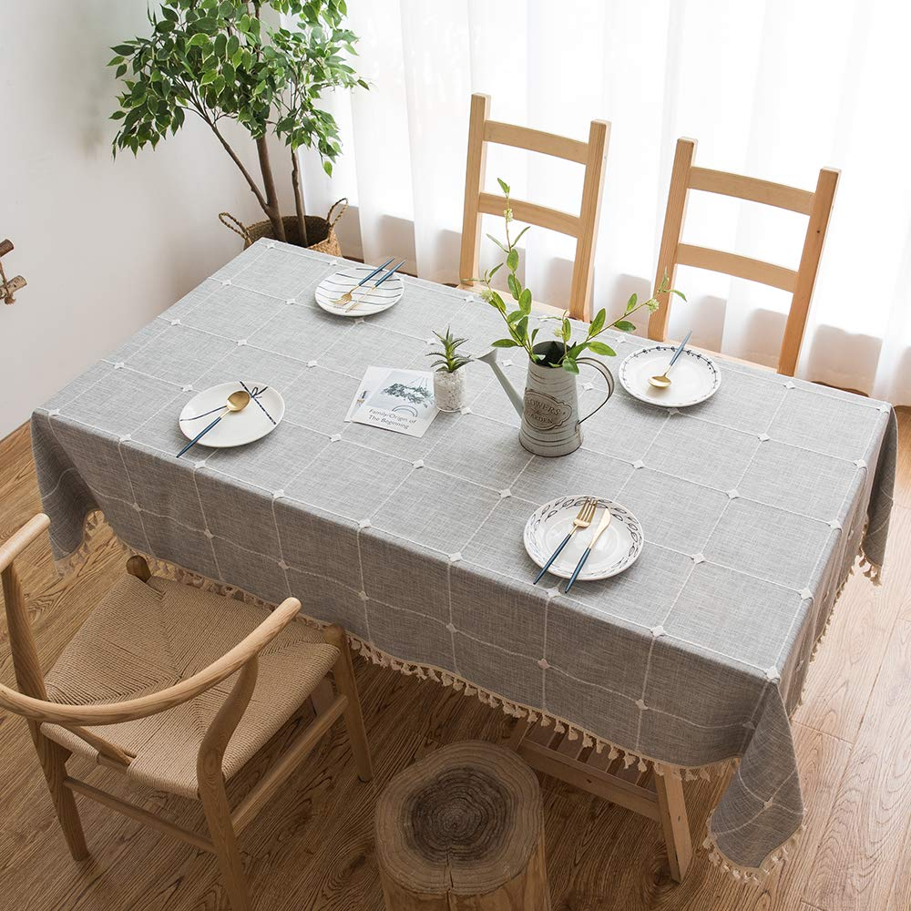 TEWENE Tablecloth, Rectangle Table Cloth Cotton Linen Wrinkle Free Anti-Fading Tablecloths Embroidery Dust-Proof Table Cover for Kitchen Dinning Party (Rectangle/Oblong, 55