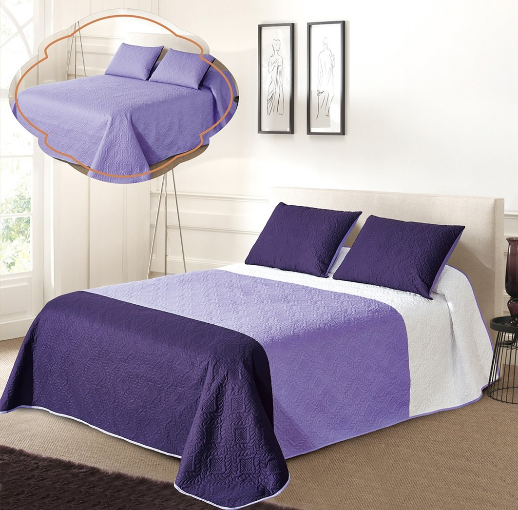 All American Collection New 3pc Solid Three Color Combination Reversible Bedspread Set (FULL/ QUEEN, White/L.Purple/Dk.P