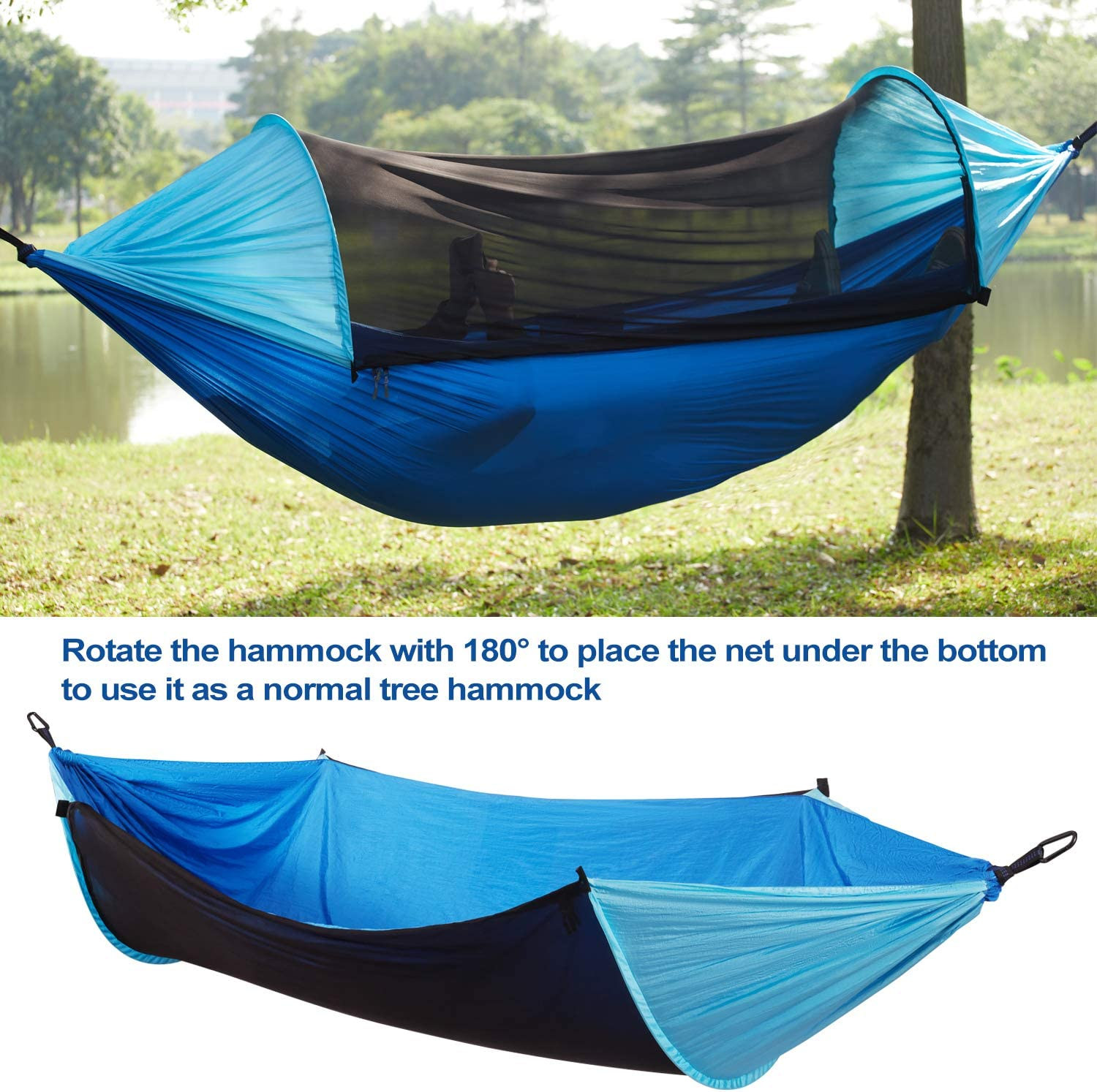 Backyard Sunnychic Camping Hammock with Mosquito Net /& Tree Straps Lightweight Parachute Fabric Travel Bed for Hiking Backpacking