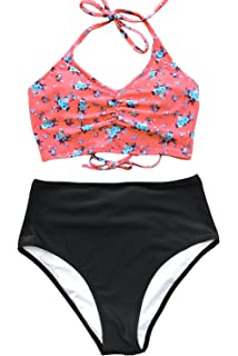 696f37a0a4 CUPSHE Women s This is Love High Waisted Lace Up Halter Bikini Set
