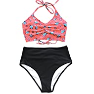 CUPSHE Women's This is Love High Waisted Lace Up Halter Bikini Set, Pink