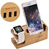 Apple Watch Stand, WOYYLBP Usb Charging Station With 3 USB Ports 3.0 Hub for all Android Smartphone and iphone, iWatch, iPhone 7/7plus/6 Plus/6/iPad Mini/iPod (Bamboo Wood)