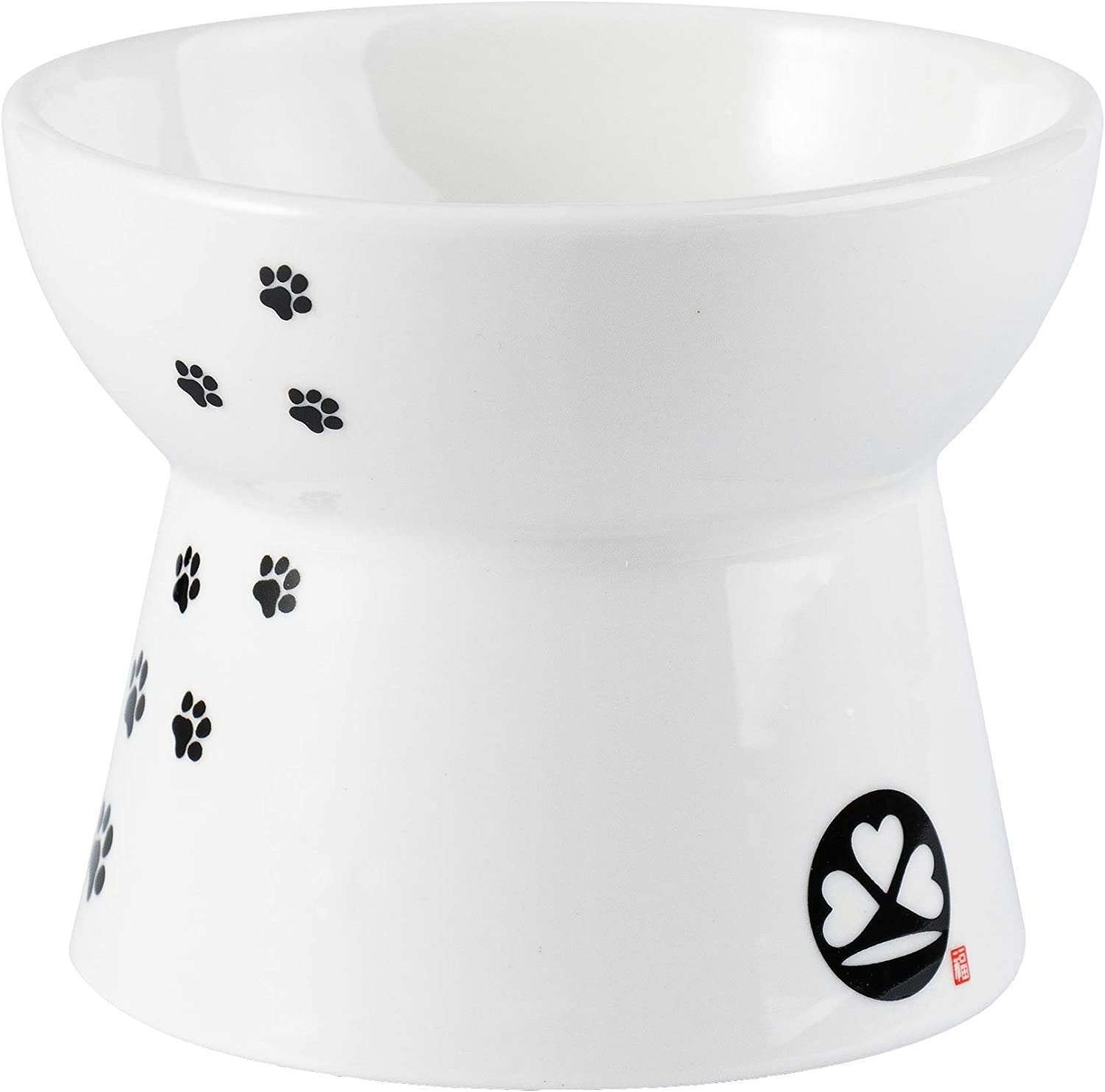 skullant Cat Ceramic Raised Food Bowls,Slanted Elevated Porcelain Feeder,Backflow Prevention,Dishwasher and Microwave Safe
