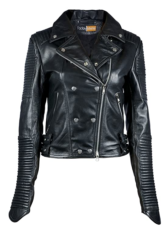 FE- Quilted Black Biker Leather Jacket Women - Stylish Ladies Striped Motorcycle Racer Jacket