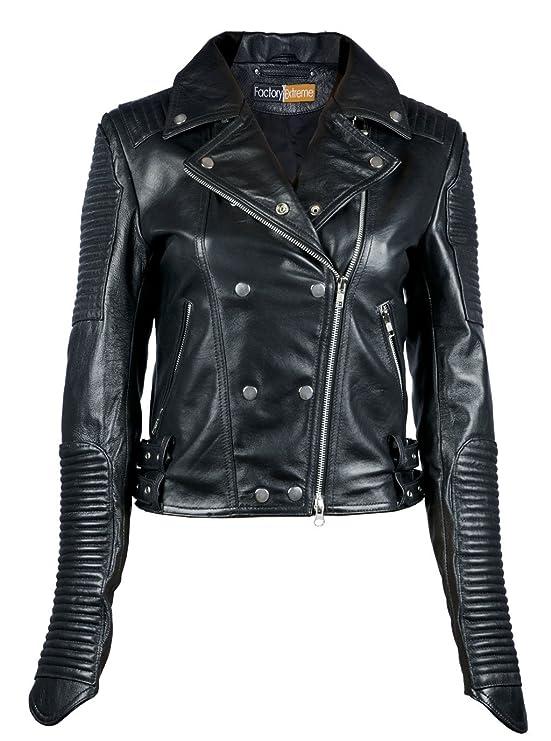 FE- Quilted Black Biker Leather Jacket Women - Stylish Ladies Striped Motorcycle Racer Jacket