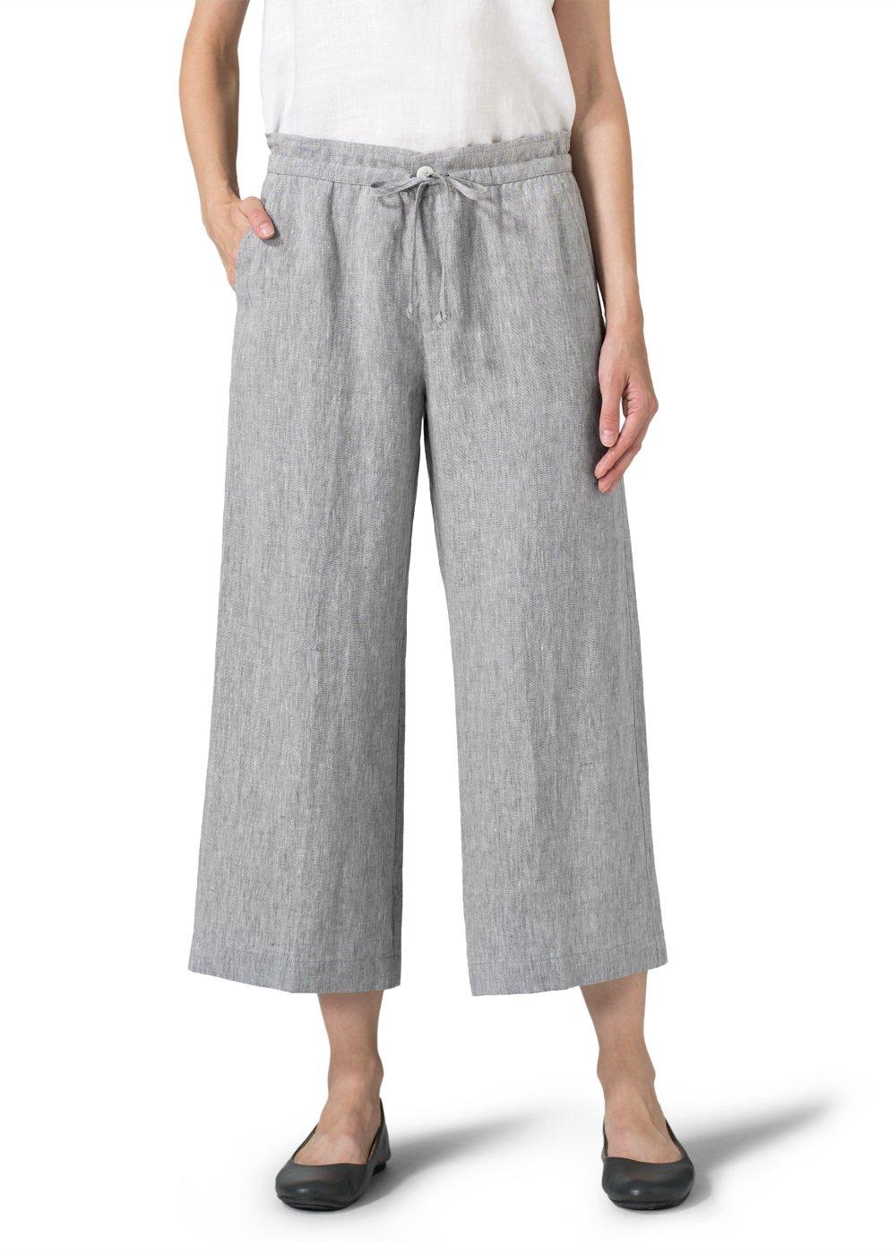 Vivid Linen Crop Drawstring Pants-M-Two Tone Gray White