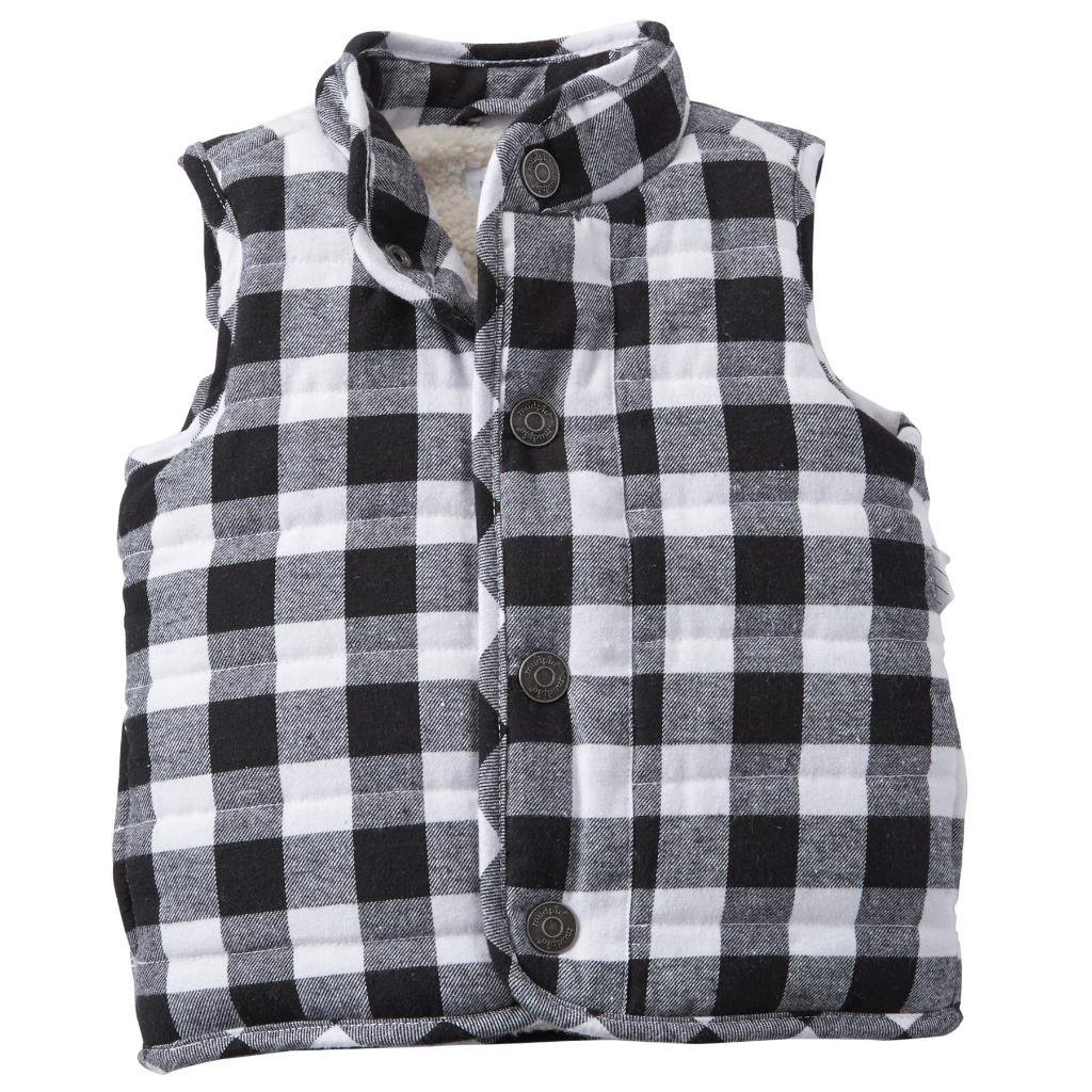 Mud Pie White Black Buffalo Check Vest Alpine Village Unisex Large 1082011