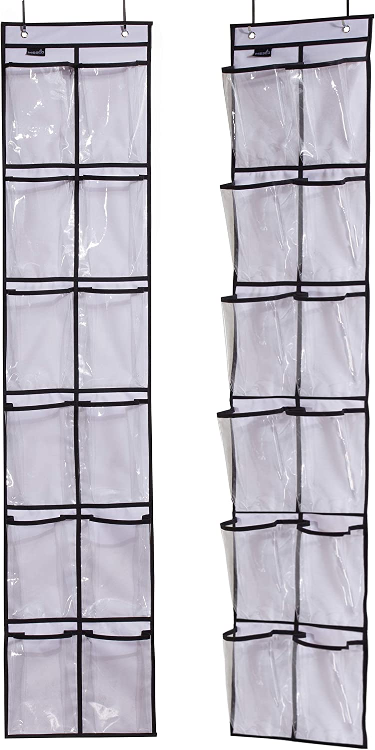 MISSLO Over The Narrow Door Shoe Organizer with 12 Crystal Pockets Hanging Closet Door (2 Packs, White)