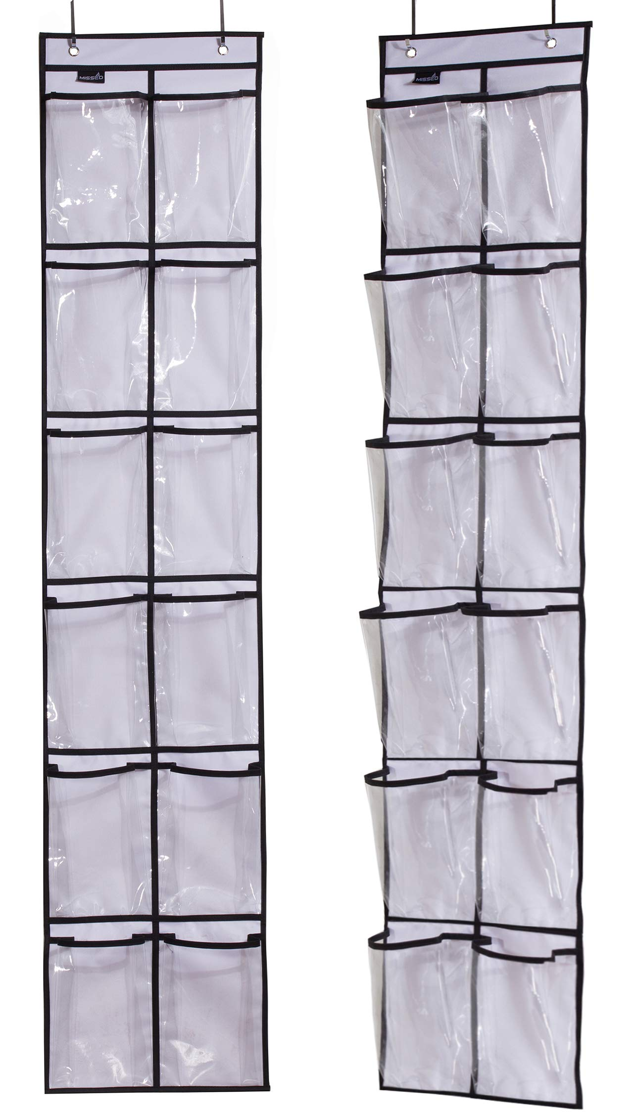 MISSLO Over The Narrow Door Shoe Organizer with 12 Crystal Pockets Hanging Closet Door (2 Packs, White) by MISSLO