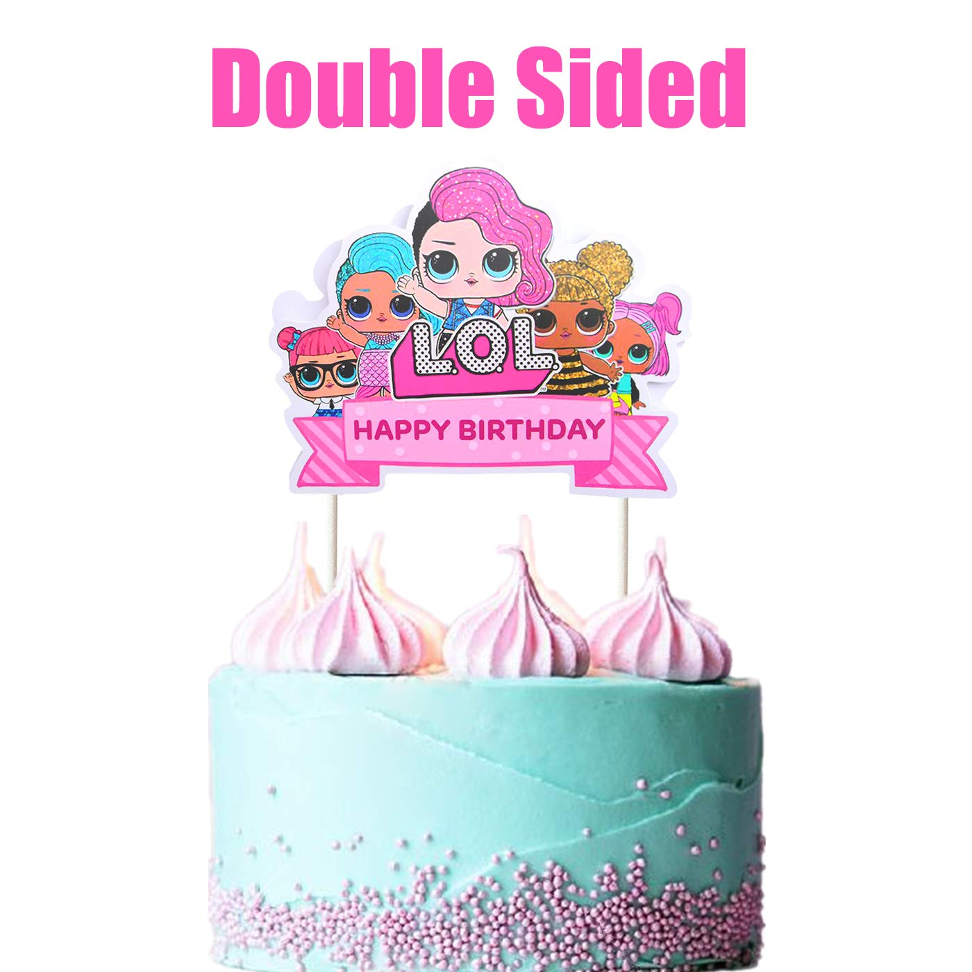 LOL Cake Topper Happy Birthday Pink Decorations For Bday Theme Party Amazon Grocery Gourmet Food