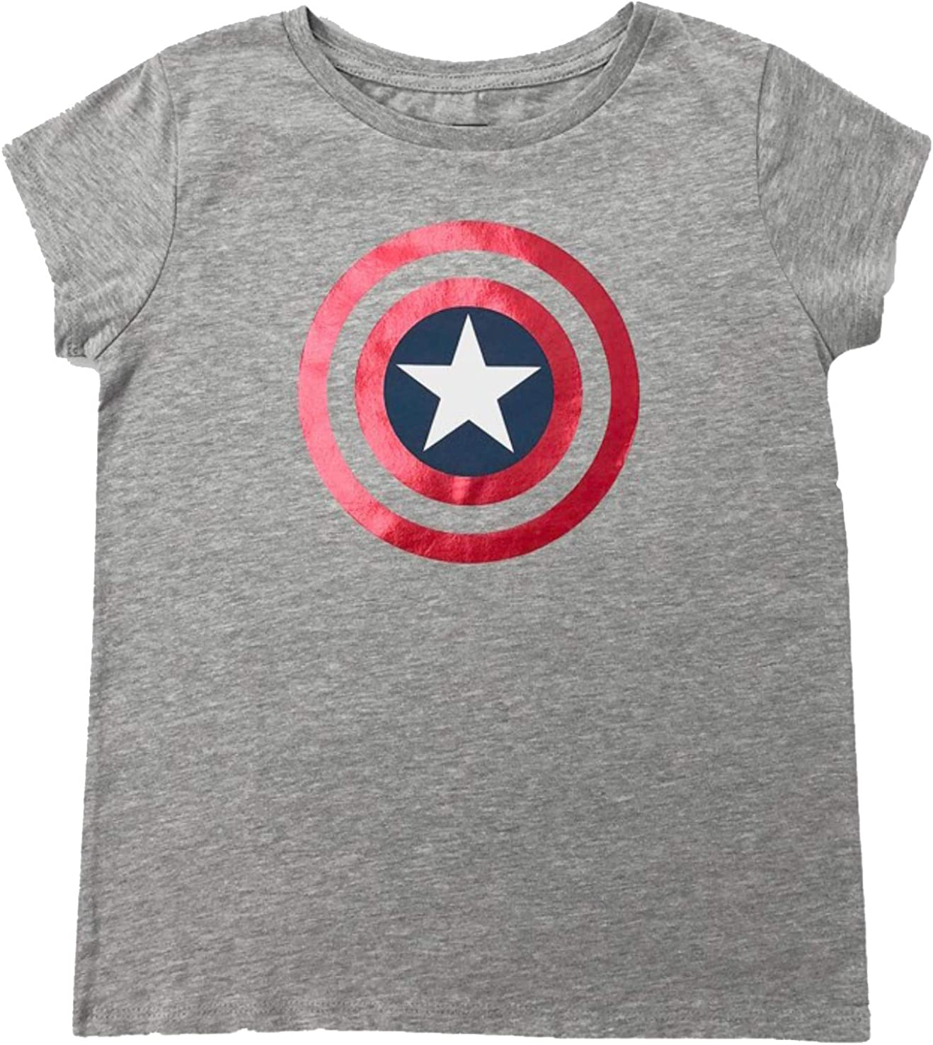 Girls' Captain America Shield Sleeve T-Shirt - Heather Grey -