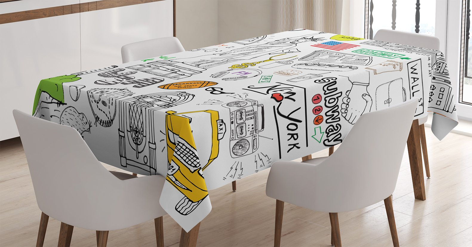 Ambesonne American Decor Tablecloth, New York City Culture with Metropolitan Museum Broadway Crossroad Wall Street Sketch Style, Dining Room Kitchen Rectangular Table Cover, 60 X 84 inches, White