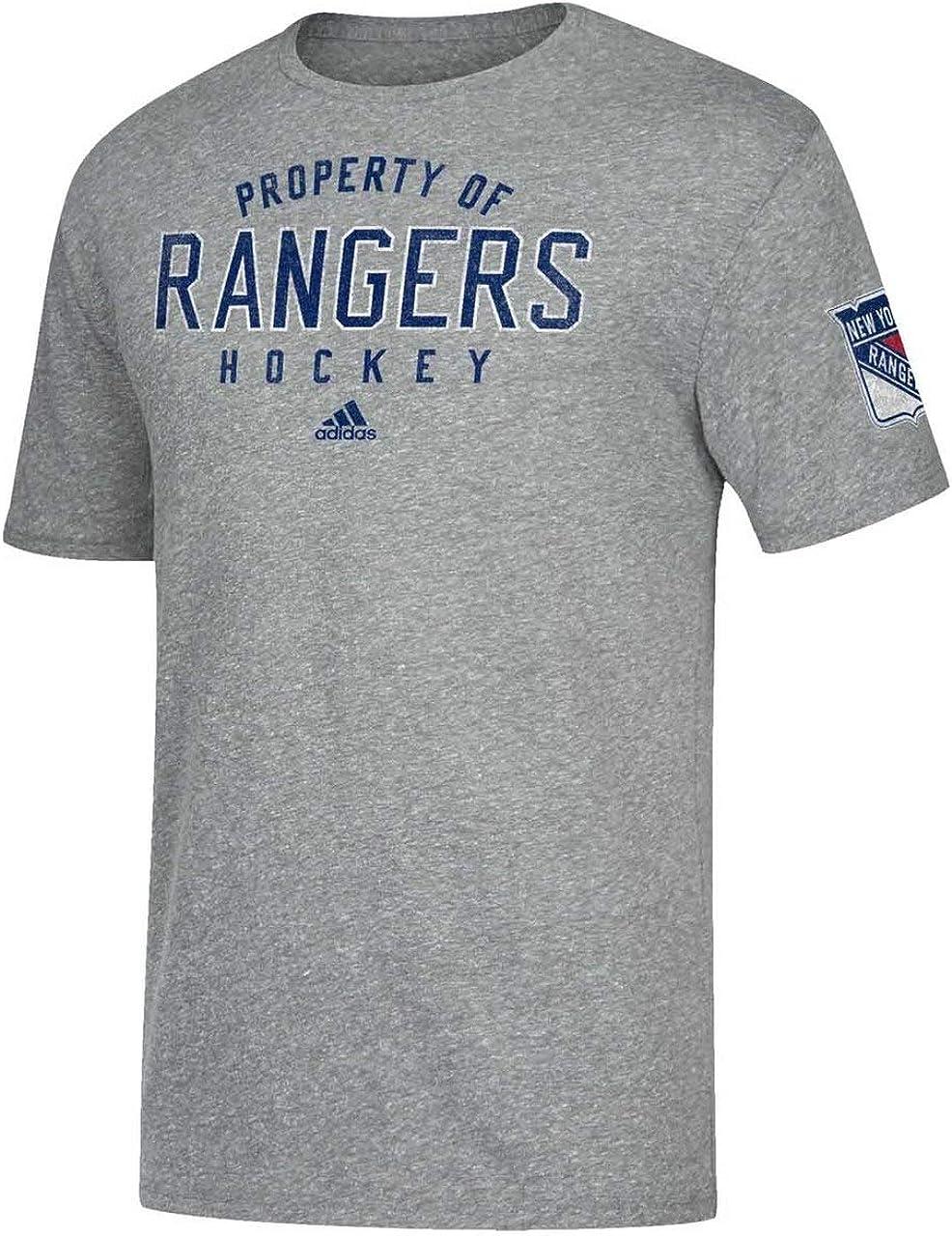 adidas New York Rangers - Camiseta de manga corta para adulto, diseño vintage de la NHL, color gris