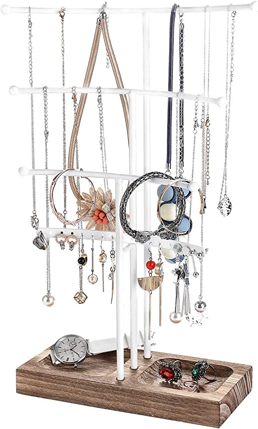 Amazon Com Urban Deco Arc Jewelry Holder 4 Tier Jewelry Organizer Stand With White Coated Wood And Brown Tray For Girls And Women To Organize Necklace Earrings Bracelet Ring Watch And Hair Tie