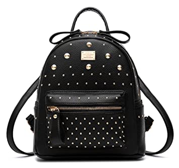 Amazon.com  Santwo Women s Mini Rivets Waterproof PU Leather Shoulder Bag  Casual Daypack Backpack (black)  Santwo Direct 2af119162d
