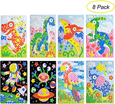 Amazon Com Ccinee Mosaic Sticker Diy Handmade Art Crafts Kits Christmas New Year Gifts For Kids Elephant Parrot Astronaut Dinosaurs 8 Packs Everything Else