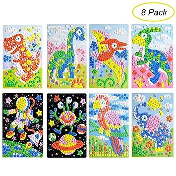 Ccinee Mosaic Sticker Diy Handmade Art Crafts Kits Christmas New Year Gifts For Kids Elephant Parrot Astronaut Dinosaurs 8 Packs
