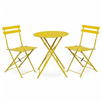 Chaises 60cm Rond Deux Bistrot Pliable JauneTable Thermolaqué De Avec Jardin Emilia ⌀ Salon PliantesAcier bfg76y