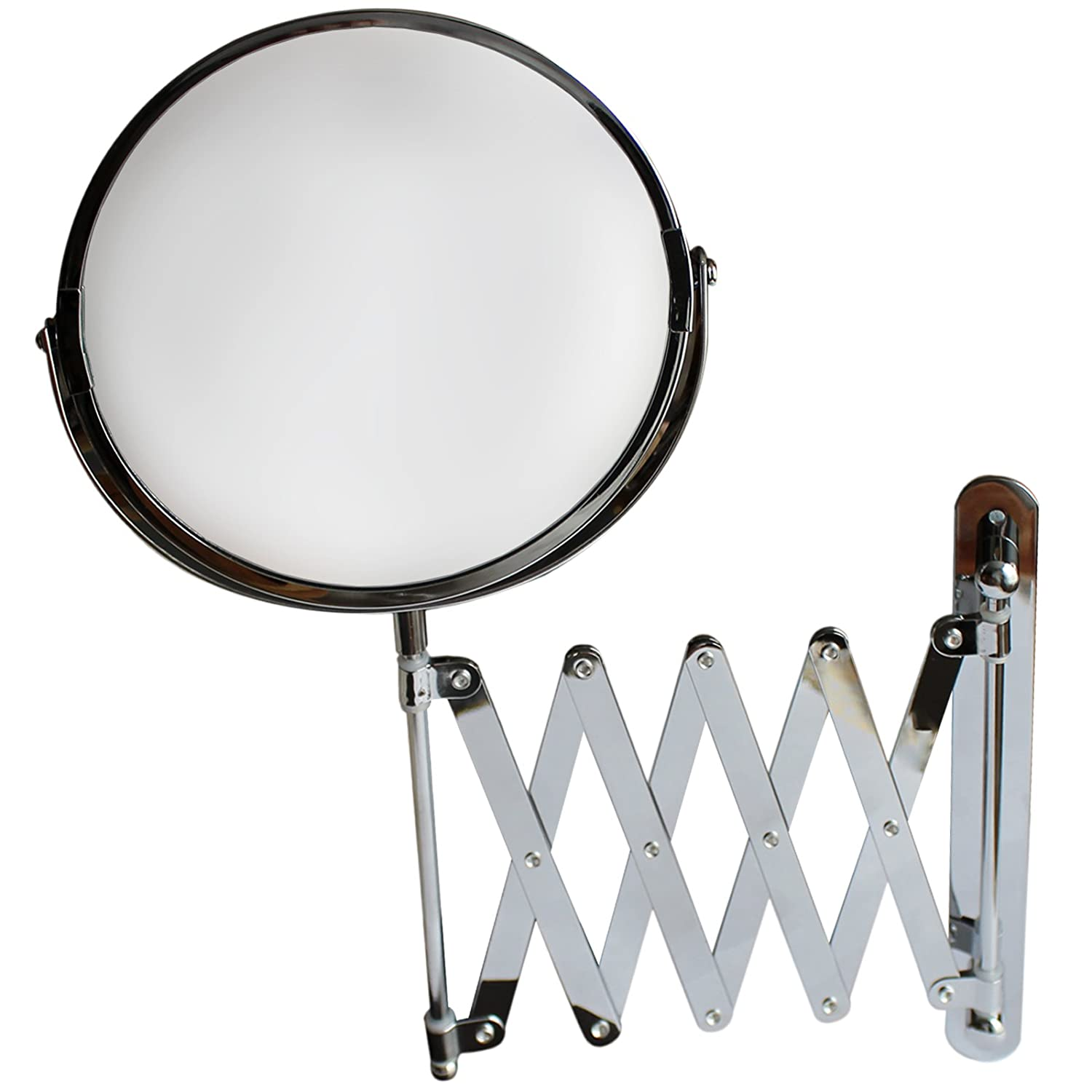 BELLE VOUS 7 Inch Large Wall Mounted Extension Vanity Mirror 1x and 3x Magnification - 16 Inch Maximum Extension - For Bathroom and Bedroom - Stainless Steel Chrome Finish - Swivel Head Design