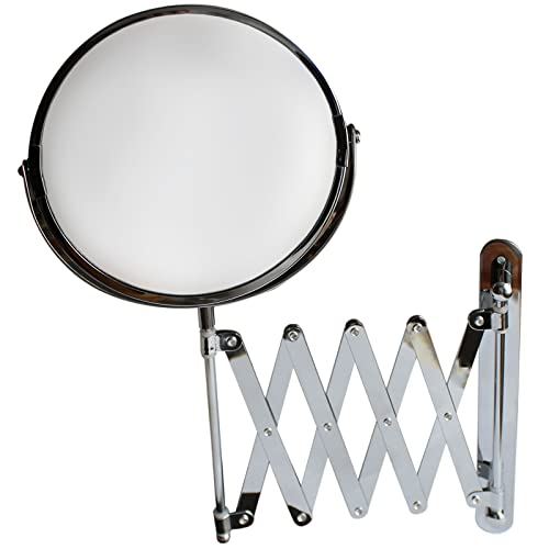 Belle Vous 7 Inch Large Wall Mounted Extension Vanity Mirror by 1x and 3x Magnification - 16 Inch Maximum Extension - For Bathroom and Bedroom - Stainless Steel Chrome Finish - Swivel Head Design